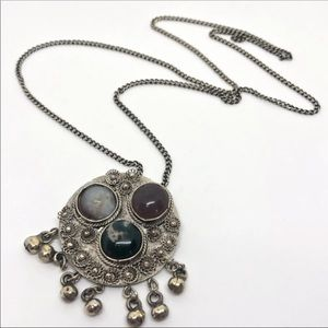 🆕Vintage Hippie Boho Silver & Glass Necklace